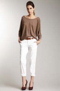 tailored pants with taupe top
