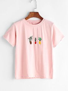 Plant Embroidered Tee