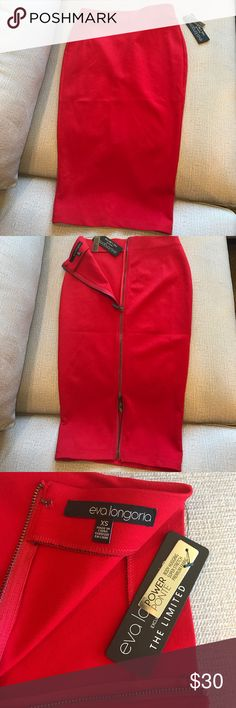 Eva Longoria red pencil skirt Very flattering red Eva Longoria pencil power ponte skirt with full zipper back. NWT, never worn. The Limited Skirts Pencil