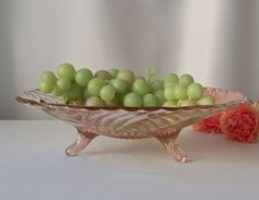 Pink Footed Depression Glass Bowl Fruit Bowl