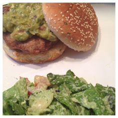 Cajun seasoned turkey burger topped with garlic cheddar and adobo chipotle guacamole on a sesame seed bun. Side of red leaf lettuce salad with a homemade broccoli dressing.