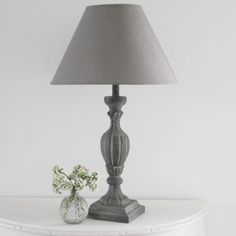 Large Table Lamps, Antique Lamps, Bedroom Lighting, How To Antique Wood, Lamp Bases, Looking Stunning, Bulb, Antiques, Grey