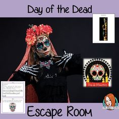Day of the Dead Escape Room Game     Try this escape room style game with your students today! This is a fun game that is perfect for teaching children about Day of the Dead. This game focuses on students finding out facts and information and using these to solve puzzles. This helps them to learn.     This activity is great for the beginning of a topic to introduce information or at the end to recap.     Students are trying to help an alien understand Day of the Dead and they must solve a… Teaching Kids, Teaching Resources, All About Me Crafts, Role Play Areas, Teacher Lesson Plans, Different Holidays, Room Style, Escape Room, English Lessons