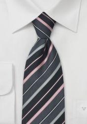 Extra lange Businesskrawatte dunkelgrau Streifen silber rosa günstig kaufen