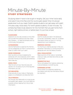 Teaching Good Study Habits, Minute by Minute, EDUCATİON, These minute-by-minute study strategies for middle and high school students will make finals a breeze! Study Tips For High School, Life Hacks For School, Middle School Tips, School Ideas, Teaching Study Skills, Teaching Strategies, Avid Strategies, Teaching Tips, College Teaching