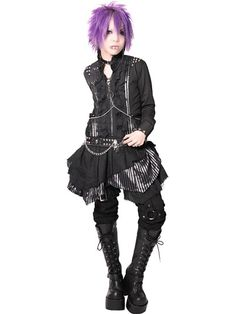 CDJapan : CHAIN HARNESS BLACK Stripe One-Piece (L) SB003038-001 SEX POT ReVeNGE APPAREL