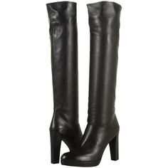 Pre-owned Stuart Weitzman Crushable Knee High Leather Heels Size 9m... (330 CAD) ❤ liked on Polyvore featuring shoes, boots, black, leather heel boots, stuart weitzman, knee high platform boots, black knee-high boots and stuart weitzman boots