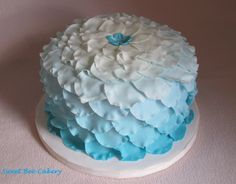 Blue Ombre Petals for Mom - My Mom's birthday cake! Mom loves this petal technique and the color blue so this is what I did for her this year. :) Dark chocolate irish cream cake with vanilla buttercream icing and mmf petals. ♥