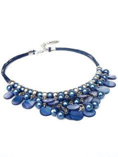 Blue necklace with shell beads and glass pearls by PerElle