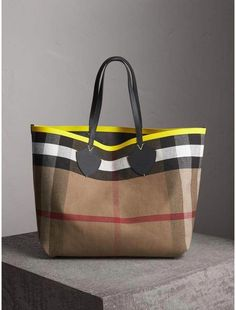 a4dedebf94b4 Burberry The Giant Reversible Tote in Canvas Check and Leather - Burberry  plaid tote bag ❤️