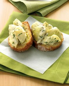 Artichoke-Dill Crostini    Chopped artichoke hearts are mixed with light mayonnaise, lemon juice, and dill to create a flavoful topping for crostini. Choose artichoke hearts packed in water, rather than oil, to keep this appetizer on the lighter side