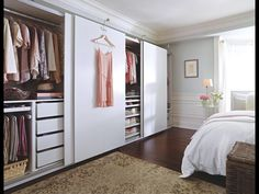 Ooh. Idea alert! White sliding door panels for walk in closet OR glass sliding door.