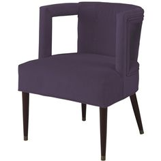 Barnaby Modern Window Arm Chair Thistle Purple Velvet (7,010 AED) ❤ liked on Polyvore featuring home, furniture, chairs, accent chairs, modern armchair, purple chair, purple accent chair, velvet accent chair and purple velvet armchair