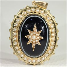 Antique Victorian Banded Agate and Pearl Memorial Locket-backed Pendant in 15k Gold