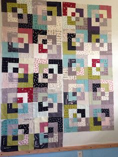 Calamity Kim - halfway on bento block quilt using moda road 15 jelly roll