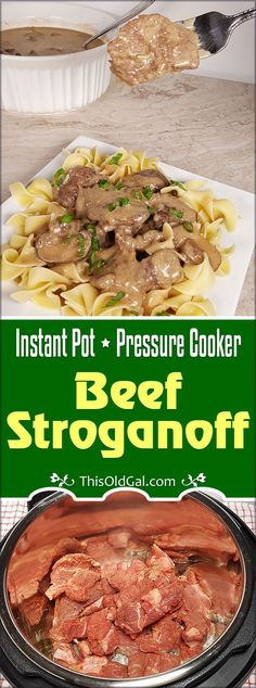 Creamy Instant Pot Beef Stroganoff with strips of braised Beef Sirloin and Cremini Mushrooms is cooked in a rich Sherry Wine, Butter, Garlic Sauce.  Gluten Free and Low Carb too! via @thisoldgalcooks
