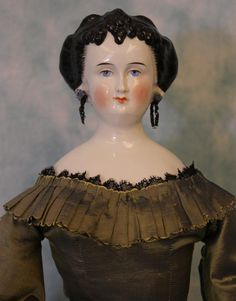 "Antique 22"" China Head Doll with Elaborate Windblown Hairstyle Pierced Ears 1875 