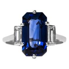 Remarkable Art Deco 4.25 Carat Rectangular Sapphire Diamond Engagement Ring