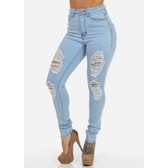 Light Denim High Waisted Ripped Jeans ($25) ❤ liked on Polyvore featuring jeans, pants, bottoms, highwaisted jeans, distressed jeans, ripped jeans, torn jeans and high rise jeans