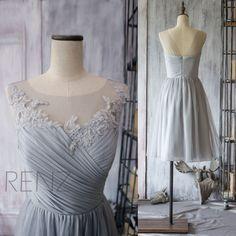 2015 Grey Bridesmaid Dress, Chiffon Cocktail Dress, A line Gray Prom Dress, Short Lace Wedding dress, Formal dress tea length (F149)-Renz by RenzRags on Etsy https://www.etsy.com/listing/224343114/2015-grey-bridesmaid-dress-chiffon
