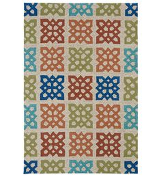 Brookdale Indoor/Outdoor Polypropylene Area Rug  http://www.plowhearth.com/59-round-brookdale-indoor-outdoor-rug.htm?aff=6443&gclid=Cj0KEQiAsueiBRCT8YOM4PDElsYBEiQAaiI4IF9f10yapNvvtl3YWU-bSAPo9HWPW8fY8MUxKcu04tcaAjSO8P8HAQ  Expensive but nice design.