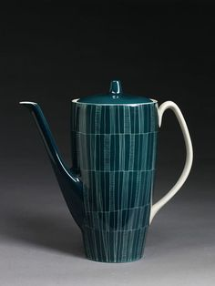 Coffee pot and cover, porcelain with sgraffito decoration and colour glaze, manufactured by Chodziez, Poland, mid 1950s.