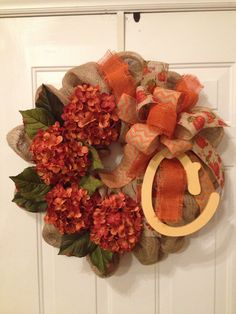 Fall burlap wreath.  Fall Leaves Wreath!  Get ready for your next project with great decor items from Old Time Pottery!  www.oldtimepottery.com