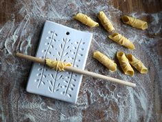 a new project : pasta boards — Gabrielle Schaffner Ceramics Dash And Dot, Clay Stamps, Pasta Shapes, Pottery Tools, Fresh Pasta, Pasta Noodles, Toy Kitchen, Homemade Pasta, Projects