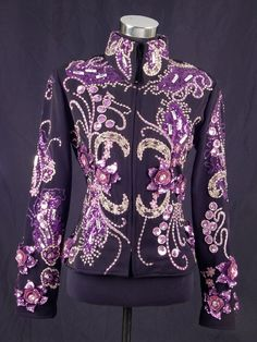 Black gaberdine and purple applique show jacket.  Wear this one for showmanship or on the rail.