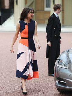 Samantha Cameron leaving Downing Street today in Roksanda