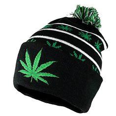 Armycrew Marijuana Leafs Pom Pom Acrylic Beanie Hat Marijuana Leaves 93b1f48586f8