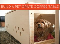 a good idea, a dog bed and table? DogDIY: This DIY dog crate coffee table is the brilliant creation of Erin Loechner and her husband Ken who, after a no-luck search for an affordable modern pet crate, decided to make their own. Coffee Table Dog Crate, Diy Dog Crate, Crate Table, Cat Crate, Crate Bed, Coffee Tables, Dog Milk, Ideas Hogar, Pet Furniture