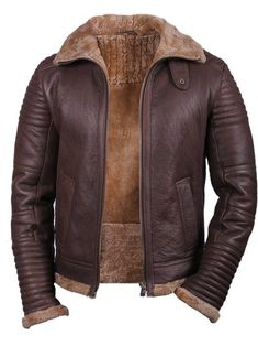 2a0c477d3ed8 Handmade men s fleece brown leather jacket