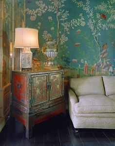 Chinoiserie wallpaper & handpainted vintage Chinese cabinet.