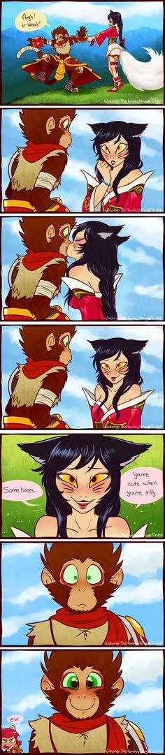 Ahri x Wukong.My boyfriend and Cute Comics, Funny Comics, League Of Legends Comic, Ahri League, Comics Story, Monkey King, Short Comics, Furry Art, Anime Couples
