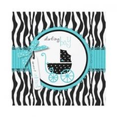 Zebra print baby shower invitations for boy baby showers. Coordinating postage, stationery, envelopes and party favors. Customize any product...