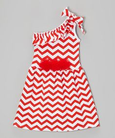 Love this Red & White Zigzag Asymmetrical Dress - Toddler & Girls by Tutus by Tutu AND Lulu on #zulily! #zulilyfinds
