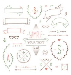 Hipster set ribbon vector - by Reinekke on VectorStock®