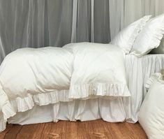 Find a wide range of heirloom quality linen bedding, includes linen bed skirt, linen shower curtain, linen bedspread, simply shabby chic bedding and more. White Ruffle Bedding, Ruffle Pillow, Linen Bedding, Baby Bedding, Bed Linen, Make Your Bed, How To Make Bed, White Duvet Covers, Simply Shabby Chic