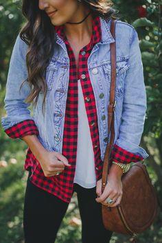 apple orchard outfit, buffalo plaid shirt, denim jacket, sorel wedge booties, fall style, fall fashion, southern fashion blogger, buffalo check shirt // grace wainwright a southern drawl