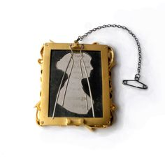 Timeless classics - Brooch back inspired by jane austen 1975 stamps. Silver with gold vermeil on the frame.