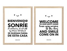 This beautiful printable poster is perfect for the hall. You will recieve two poster for print: one in spanish and one in english with this message: 'Welcome to our happy home. Leave your worries at the door. And smile. Come on in'.
