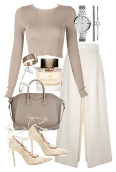 32c207cd344 Love this look! A cream top with long sleeves and white dough bottom with  the flare pants period a cream-colored purse white high heel stilettos.