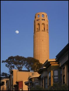 Coit Tower with Moon, San Francisco