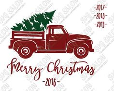Free Merry Christmas Vintage Red Truck Cut File in SVG, EPS, DXF, JPEG, and PNG for Cricut, Silhouette, and Brother ScanNCut Cutting Machines