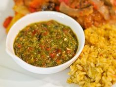 Sofrito is the base for most Puerto Rican dishes. It is a blend of onions, peppers and herbs.