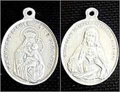$35 Vintage French Scapular Medal Virgin Mary Our Lady of Mount Carmel,Sacred Heart Jesus (Image1) Mens or ladies vintage medal from France featuring the Blessed Mother Virgin Mary holding the Christ child on one side and the Sacred Heart of Jesus on the other side. All writing is in French.