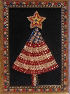 Rhinestone Jewelry Framed Christmas Tree Patriotic Red White Blue OOAK Folk Art