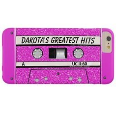 Pink Glitter Retro Cassette iPhone 6 Plus Case - Best Customizable Funny Hot Pink Glitter Retro Vintage Throwback Thursday Music Cassette Tape Black and White Printed Case-Mate Barely There Apple iPhone 6 Plus Case features a Fashionably Trendy Stylish Elegant Chic High Quality Design to Personalize with Your Amazingly Name and makes a Uniquely Lovely Birthday, Christmas, Wedding, Graduation, or Any Day Gift.  #girls #womens #fashion #style #pretty #music #girlygirlgraphics #zazzle @zazzle