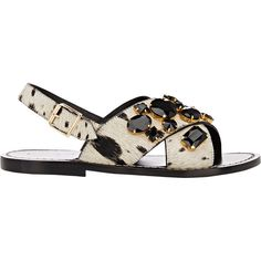 Marni Women's Jeweled Flat Slingback Sandals ($239) ❤ liked on Polyvore featuring shoes, sandals, flat sandals, flats, multi, open toe flats, jeweled sandals, flat shoes and wide sandals